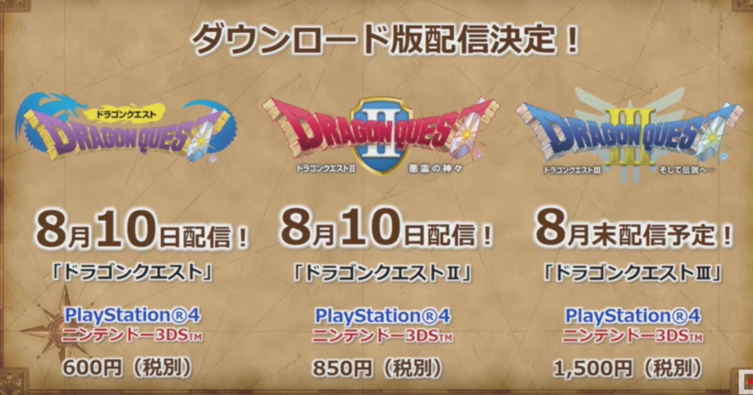 Dragon Quest 1, 2 e 3 annunciato per 3DS e Playstation 4