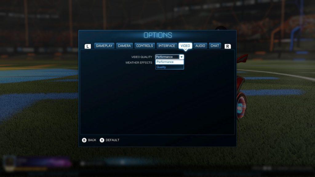 Opzioni grafiche in Rocket League