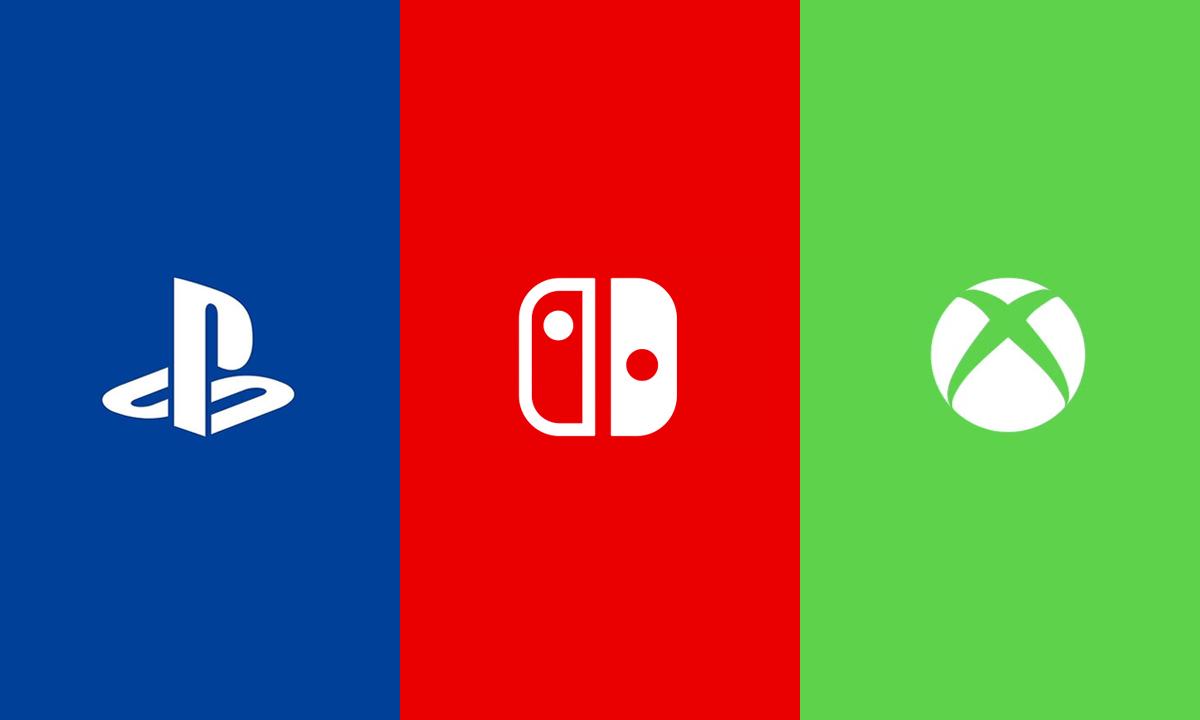 Copertina raffigurante i loghi delle tre console della generazione: PlayStation 5, Nintendo Switch e Xbox Series X