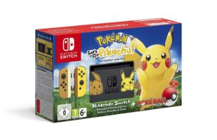 Scatola di Nintendo Switch Pikachu & Eevee Edition + Pokémon: Let's Go, Pikachu! + Poké Ball Plus