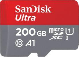 Foto frontale di SanDisk Ultra Scheda di Memoria MicroSDXC da 200 GB e Adattatore