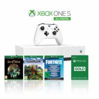 Foto frontale di Xbox One S 1TB All Digital Edition Console + 1 Mese Xbox Live Gold + 3 Digital Games Inclusi