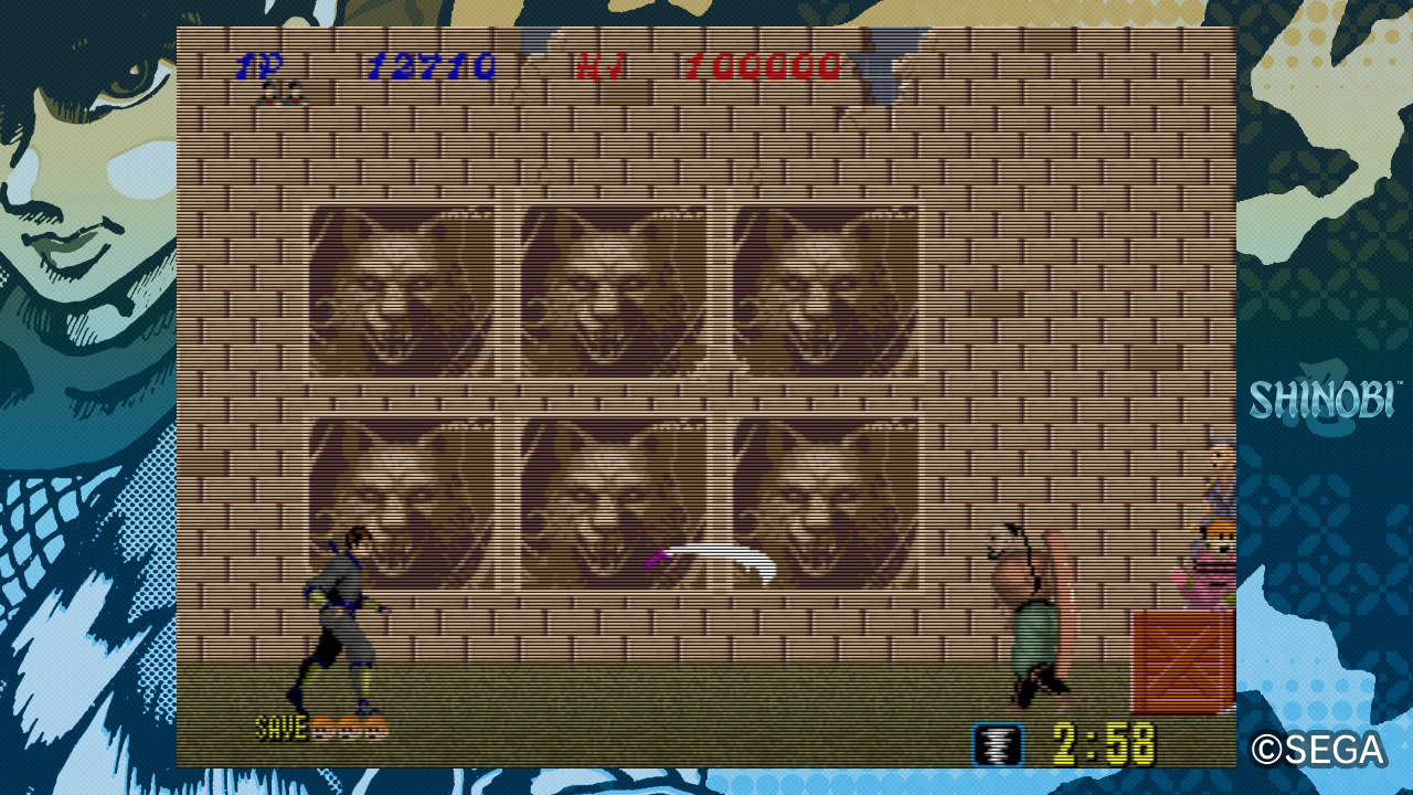 Schermata di gioco di Shinobi.