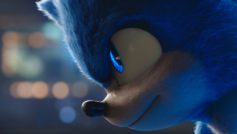 Un primo piano di Sonic in Sonic - Il Film