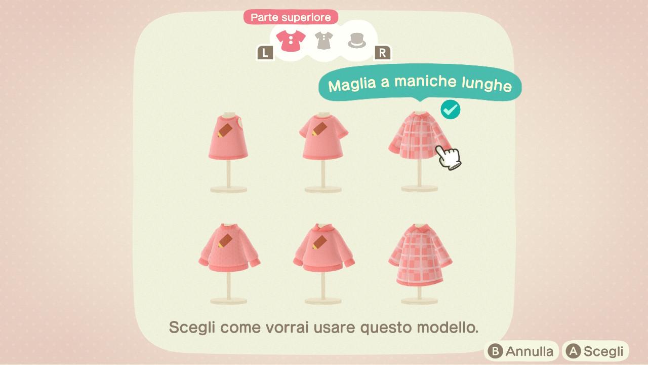 Selezioni di capi di abbigliamento disponibile alla creazione di un modello pro in Animal Crossing: New Horizons