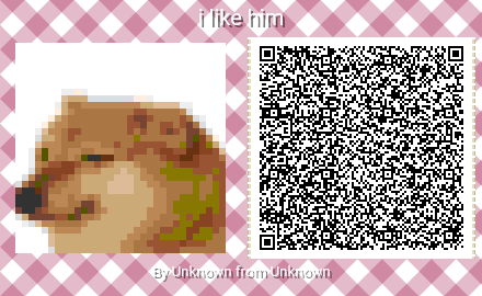 Codice QR di Cheems generato utilizzando Animal Crossing Pattern Tools