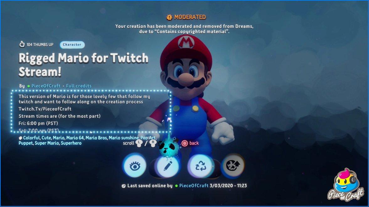 Creazione Mario di Nintendo in Dreams