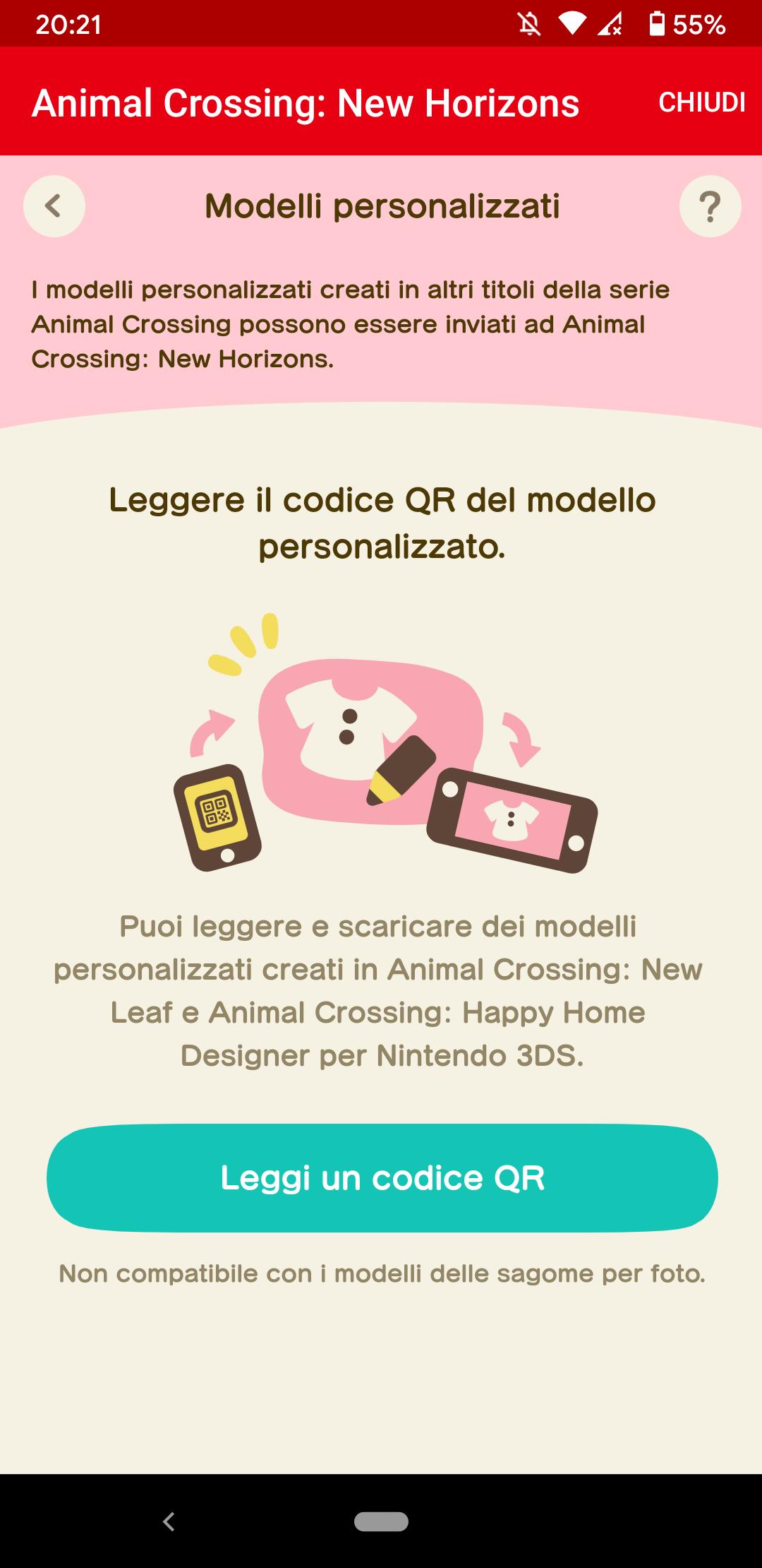 Interfaccia della scansione dei codici QR nel servizio NookLink dell'app Nintendo Switch Online