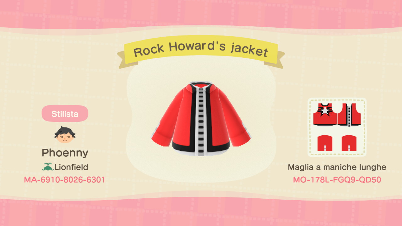 ID modello della giacca di Rock Howard da Garou: Mark of the Wolves su Animal Crossing: New Horizons