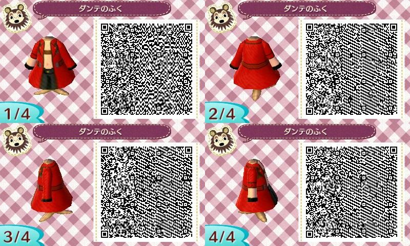 Codice QR del vestito di Dante di DMC3 creato su Animal Crossing: New Leaf