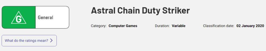 Astral Chain Duty Strikers valutazione australiana