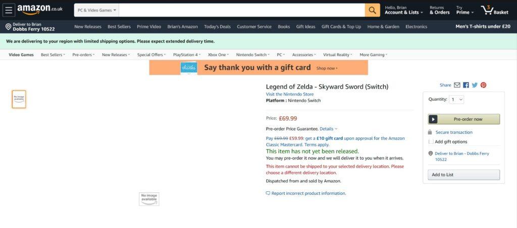 Screenshot Skyward Sword Amazon UK