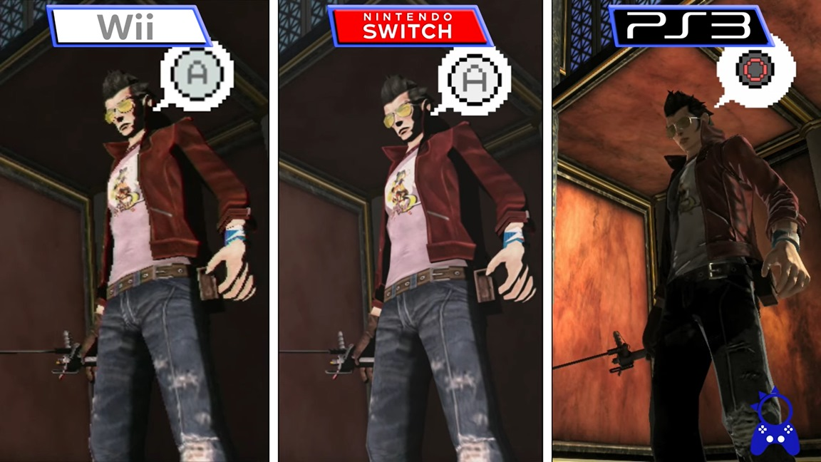 Immagine comparativa delle tre versioni del primo No More Heroes.
