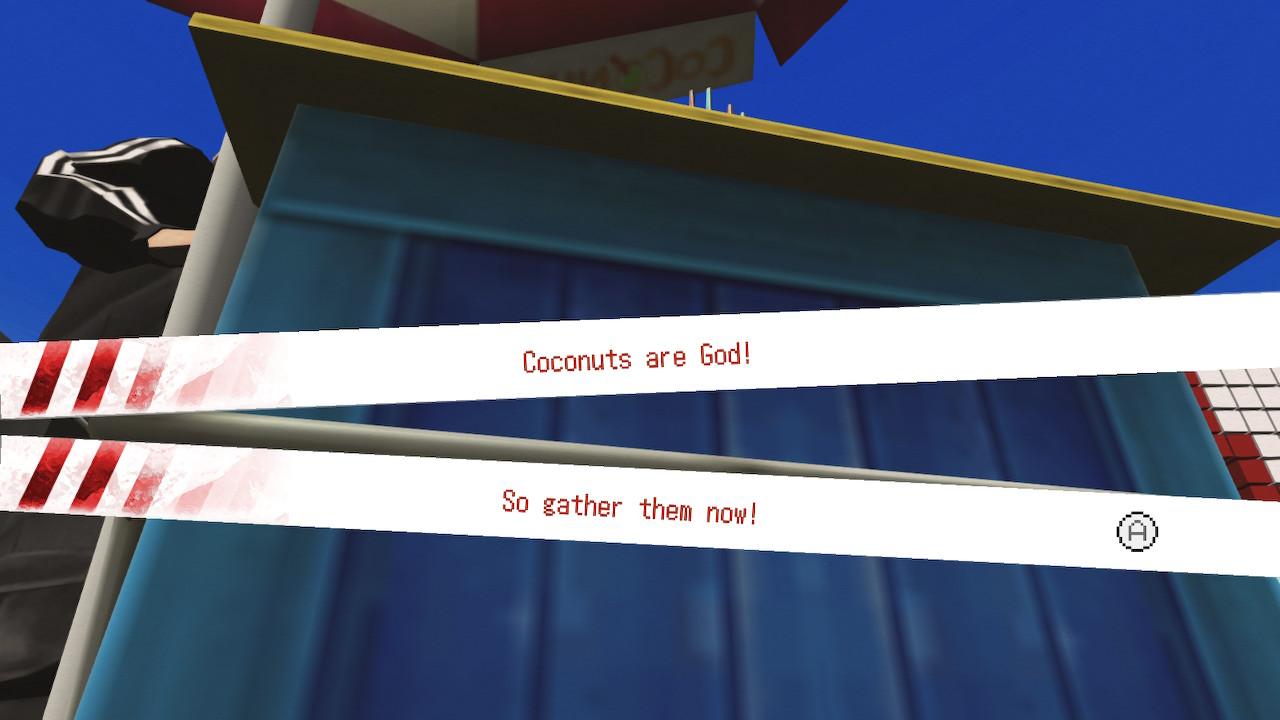 Minigioco della raccolta del cocco in No More Heroes.
