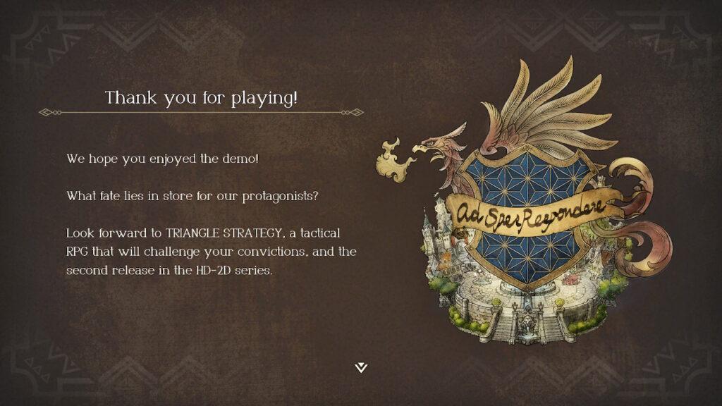 Schermata finale della demo di debutto di Project Triangle Strategy